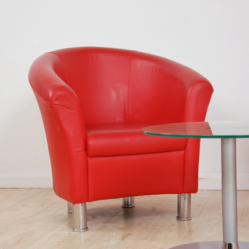 Red Real Leather Tub Chair With Chrome Feet Leather Tub